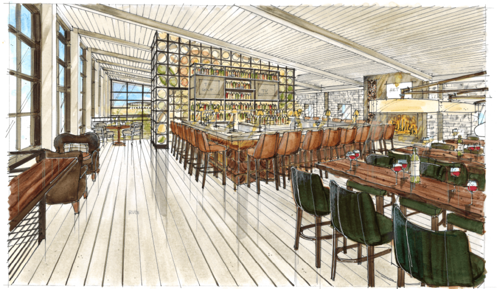 hand drawn rendering of bar area