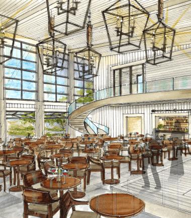 the eldred preserve old homestead restaurant room rendering concept drawing