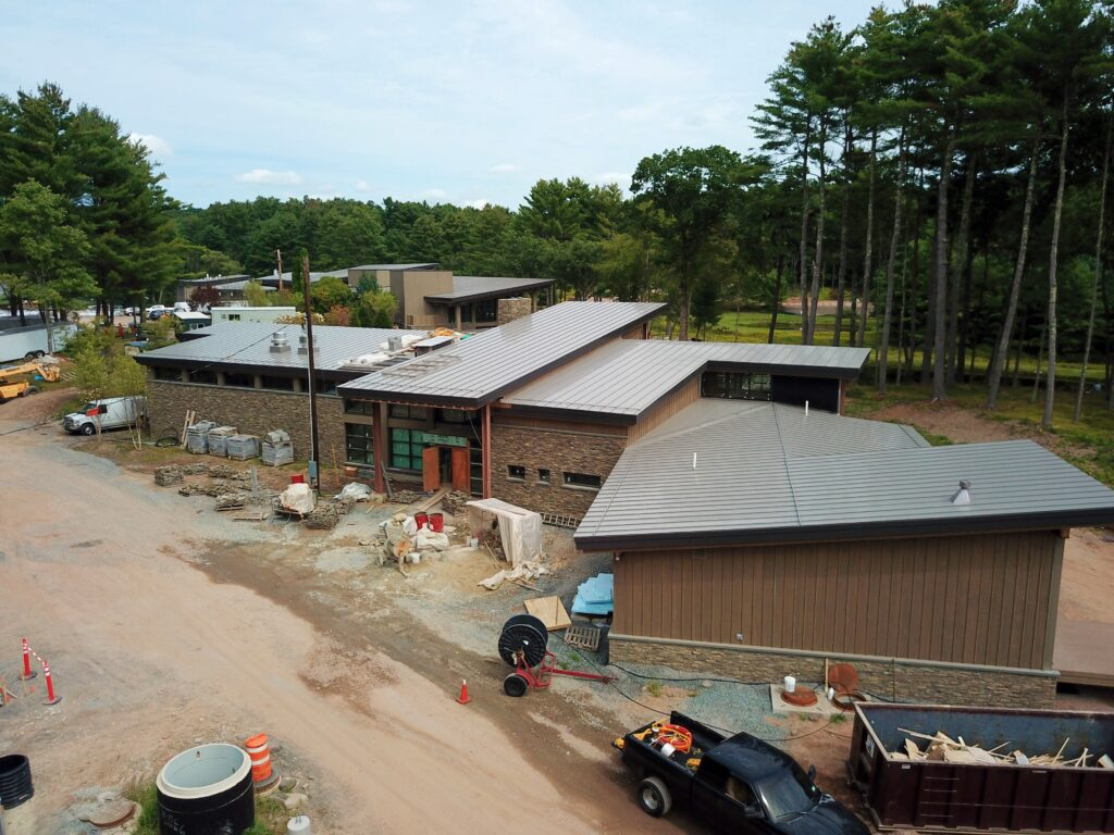 bird's eye view of the eldred preserve construction site