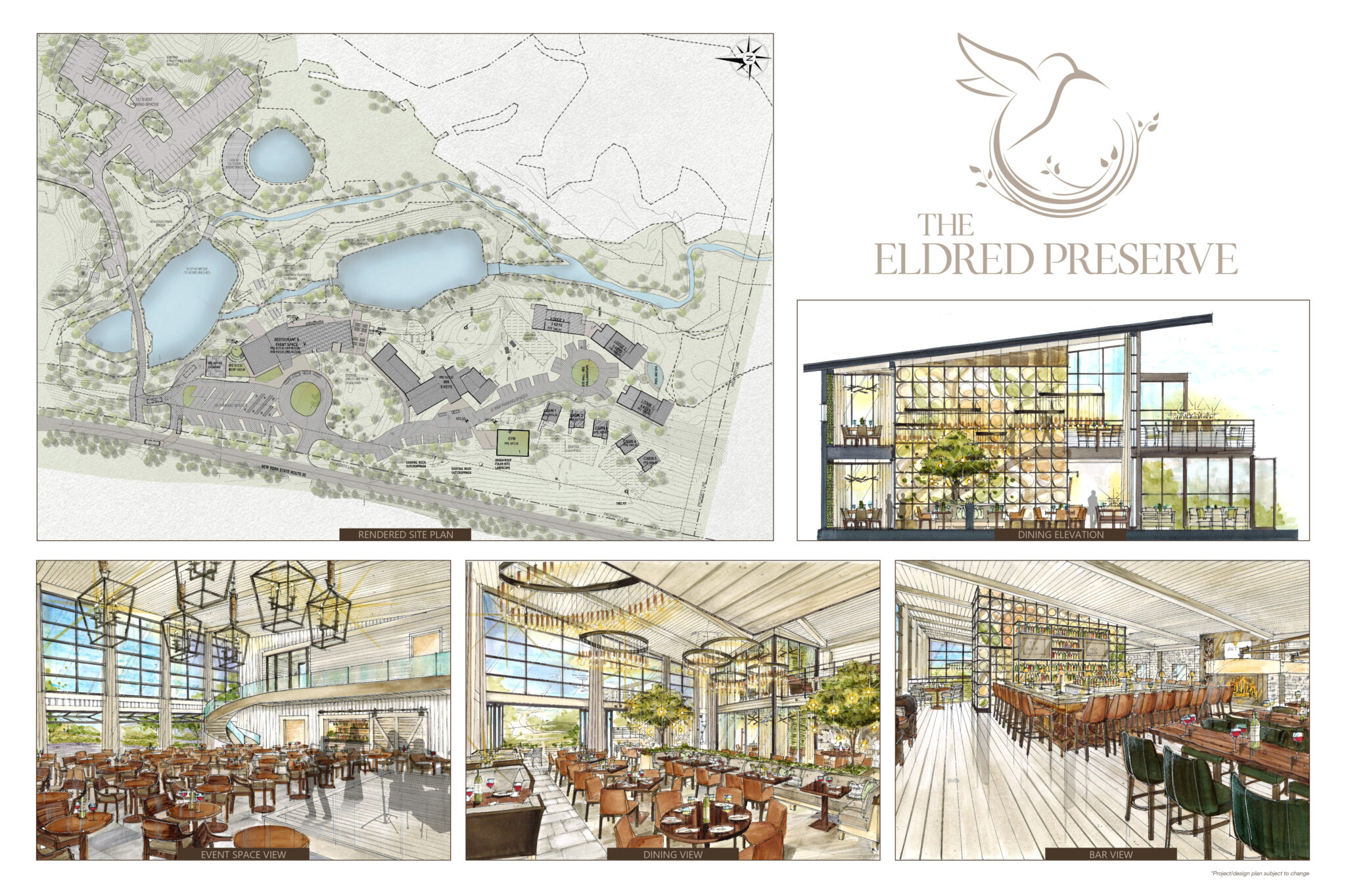 interior design renderings and topographical map of the eldred preserve property