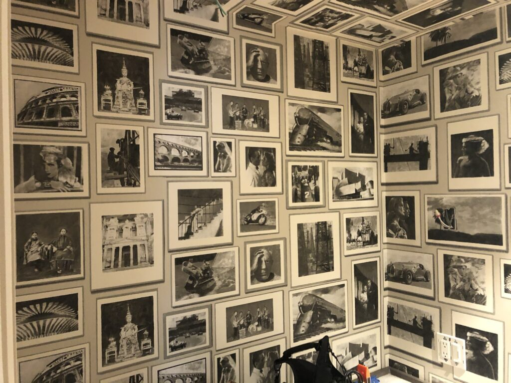 room corner filled with black & white photography
